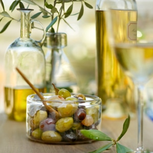 Olives, olive oil, & vitamin E foods.